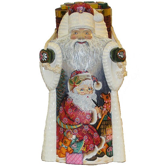 "Kurt Adler 11½"" Czar Treasures Wooden Santa with Backpack"