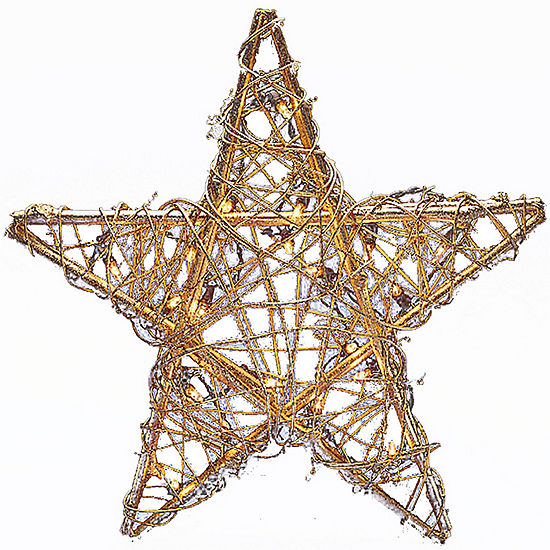 Kurt Adler 20-Light Gold-Tone Rattan Star