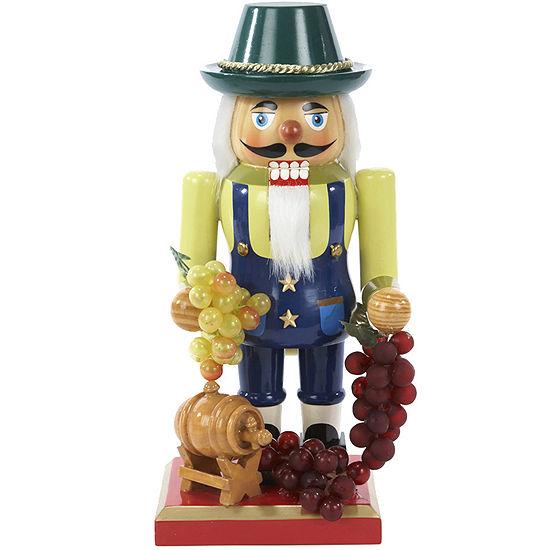 """Kurt Adler 10¼"""" Wooden Winemaker Nutcracker"""