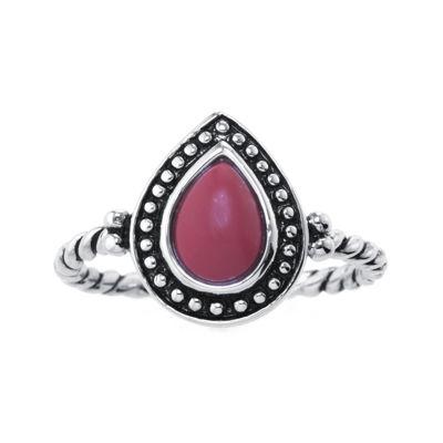 Red Jasper Sterling Silver Teardrop Ring