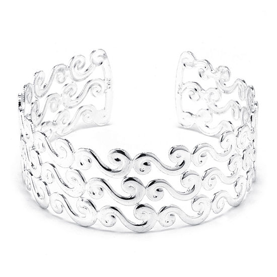 Dazzling Designs™ Silver-Plated Brass Wave Cuff Bracelet