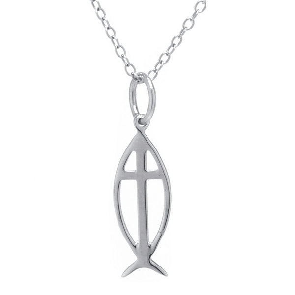 Sterling Silver Ichthus Symbol Cross Pendant Necklace
