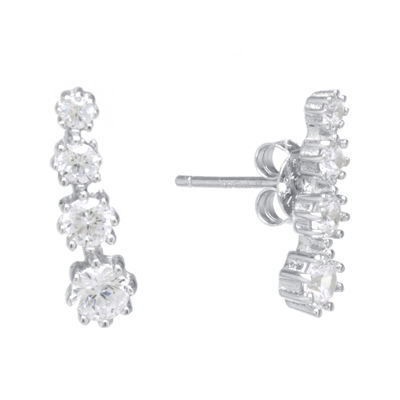 Cubic Zirconia Sterling Silver Graduated Earrings