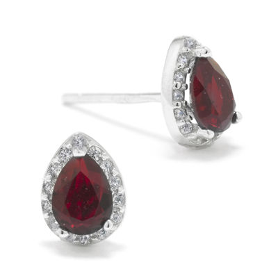 Red Crystal Teardrop Halo Sterling Silver Stud Earrings