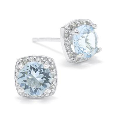 Blue Crystal Halo Sterling Silver Stud Earrings
