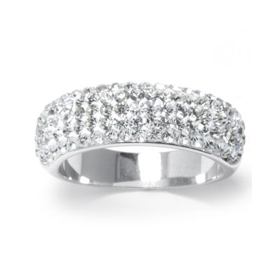 Crystal Pavé Silver-Plated Brass Band Ring