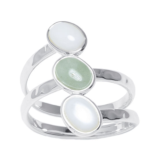 Mother Of Pearl And Green Aventurine Silver Plated Brass Ring