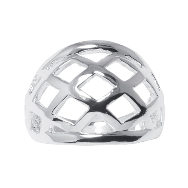 Silver-Plated Brass Lattice Dome Ring