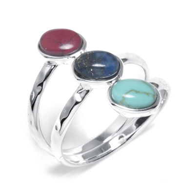 Women's Simulated Red Jasper, Turquoise, and Sodalite Silver-Plated Brass Ring