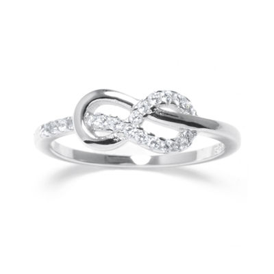 Crystal Sterling Silver Infinity Ring