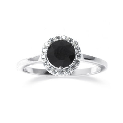 Black Crystal Sterling Silver Halo Ring