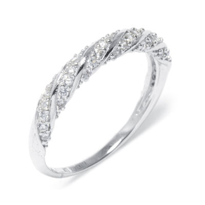 Cubic Zirconia Pavé Sterling Silver Rope Ring