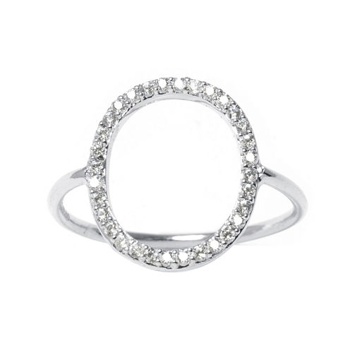 Cubic Zirconia Silver-Plated Brass Open Circle Ring
