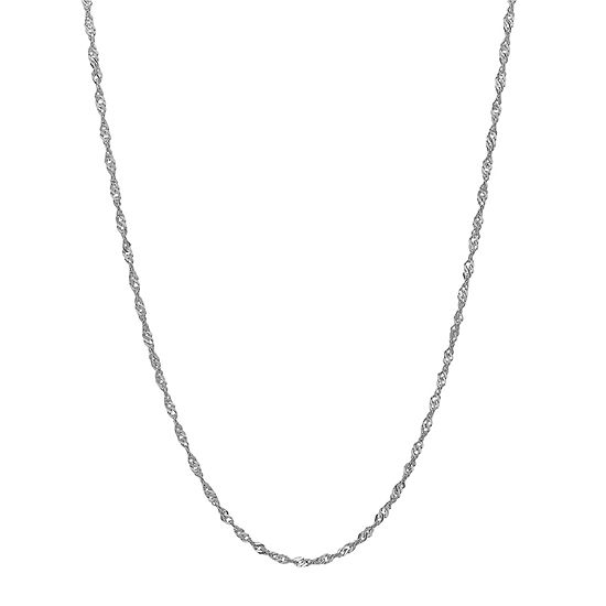 14k White Gold 18 Sparkle Singapore Chain Necklace