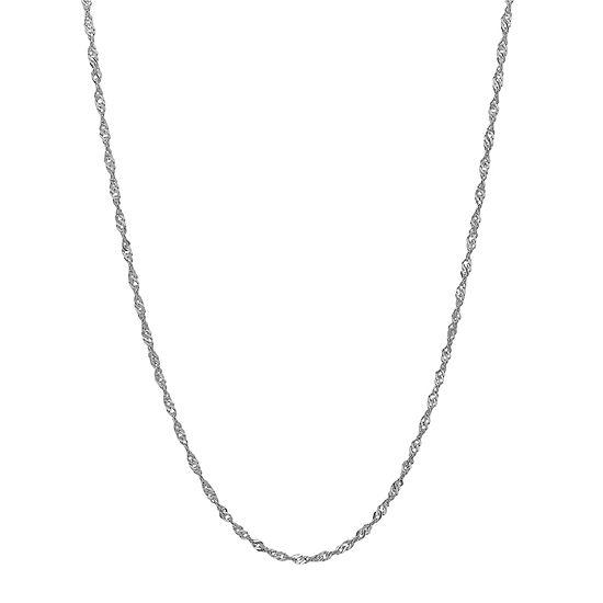 "14K White Gold 20"" Sparkle Singapore Chain Necklace"