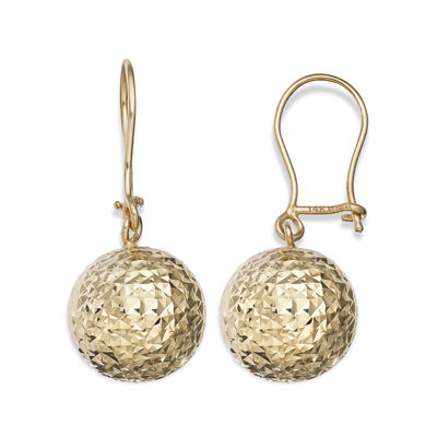 14K Yellow Gold Diamond-Cut Ball Drop Earrings
