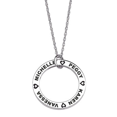 Personalized Sterling Silver Family Name Disc Pendant Necklace