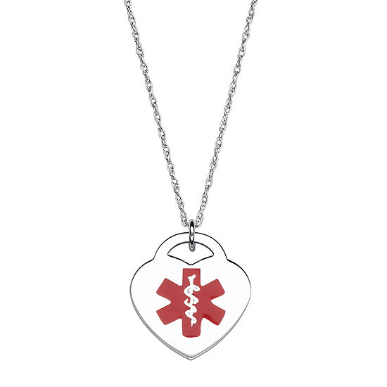 Personalized Medical ID Heart Pendant Necklace