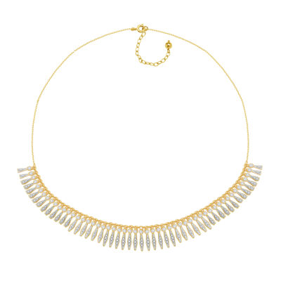 Diamond-Accent 18K Gold Over Brass Fringe Necklace