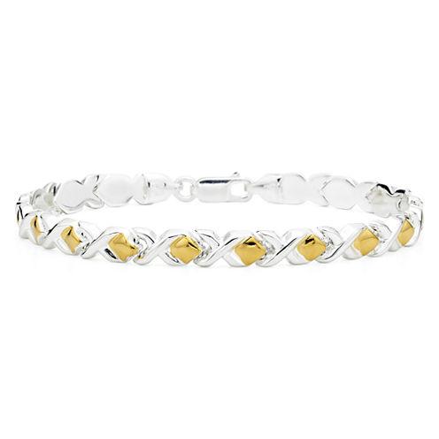 "Two-Tone Sterling Silver 7½"" Stampato Bracelet"