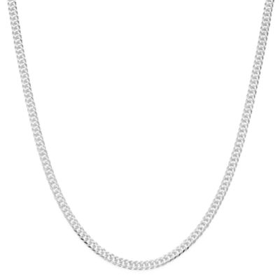 "Made in Italy Mens Sterling Silver 22"" Double Rombo Chain Necklace"