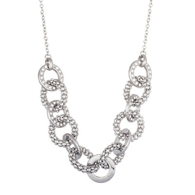 Stainless Steel Diamond-Cut Link Chain Necklace