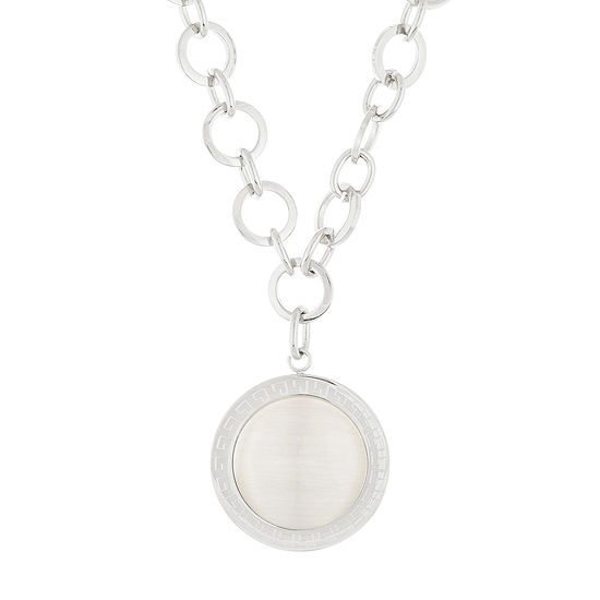 Stainless Steel Oval Link Necklace with Round Charm