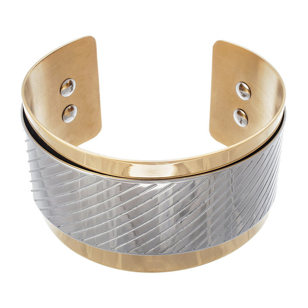 18K Gold Ion-Plated Stainless Steel Cuff Bracelet