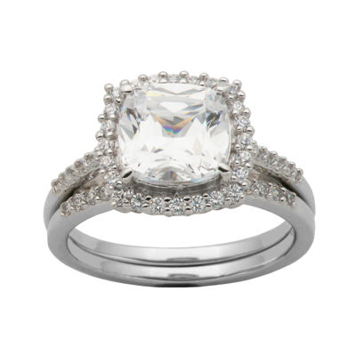 DiamonArt® Cubic Zirconia Sterling Silver Cushion-Cut Bridal Ring Set