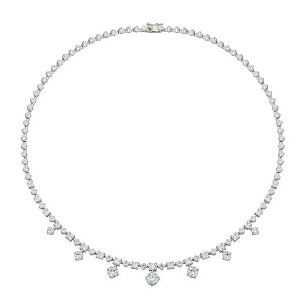 DiamonArt® Cubic Zirconia Sterling Silver Drops Necklace
