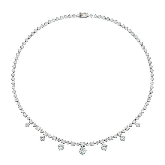 DiamonArt® Cubic Zirconia Sterling Silver Drops Necklace