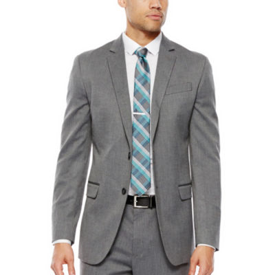 JF J. Ferrar® Gray Herringbone Stretch Suit Jacket - Slim Fit