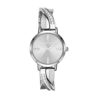 Liz Claiborne Liz Claiborne Womens Silver Tone Bracelet Watch-Lc1280t