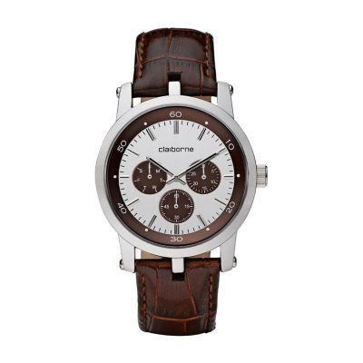 Claiborne Claiborne Mens Mens Brown Bracelet Watch-Clm1004t