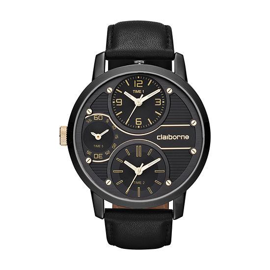 Claiborne Mens Black Strap Watch-Clm1077t
