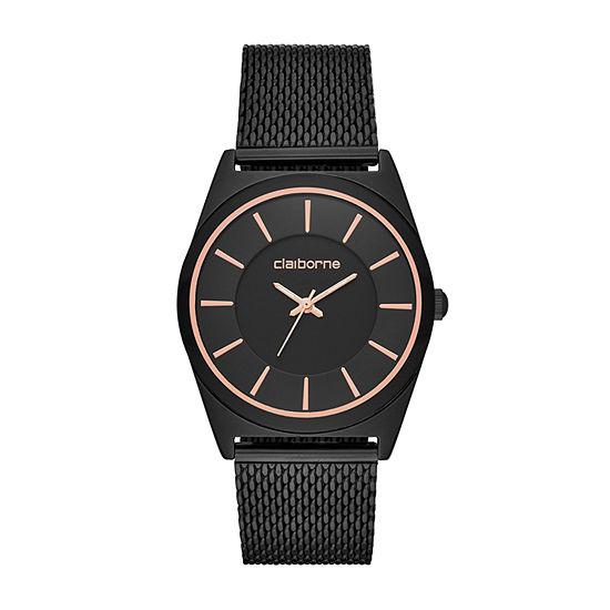 Claiborne Mens Black Bracelet Watch-Clm1221t