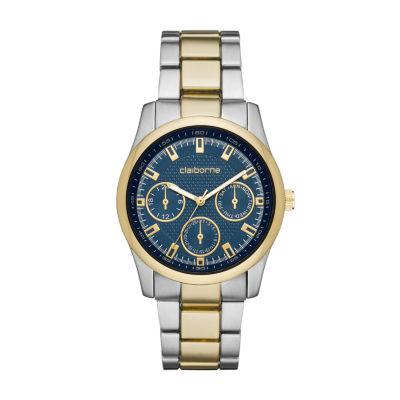 Claiborne Claiborne Mens Mens Two Tone Bracelet Watch-Clm1228t