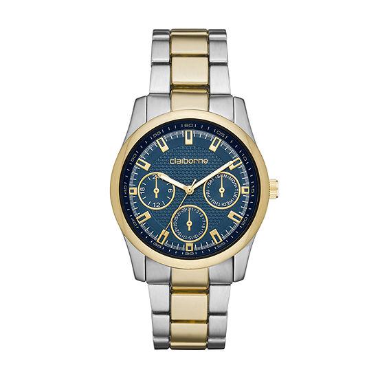 Claiborne Mens Two Tone Bracelet Watch-Clm1228t