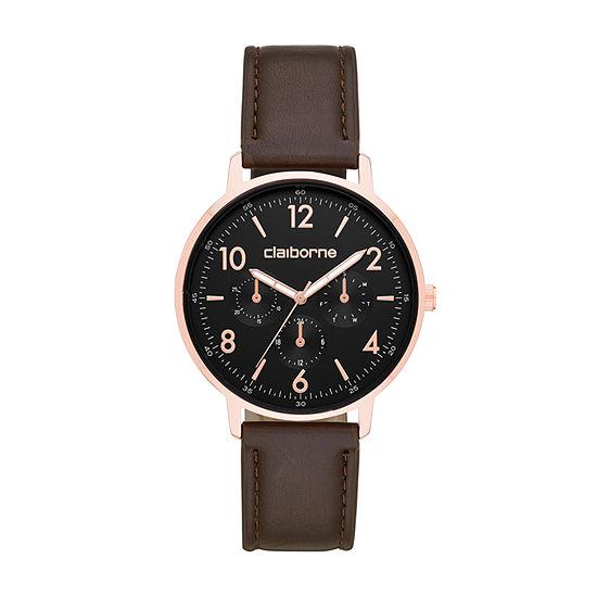 Claiborne Mens Brown Strap Watch-Clm1240t