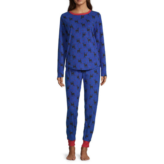 Peace Love And Dreams Womens Pant Pajama Set 2-pc. Long Sleeve