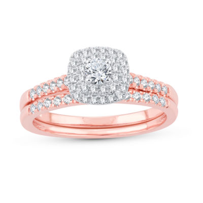 Womens 1/2 CT. T.W. Genuine White Diamond 10K Rose Gold Bridal Set