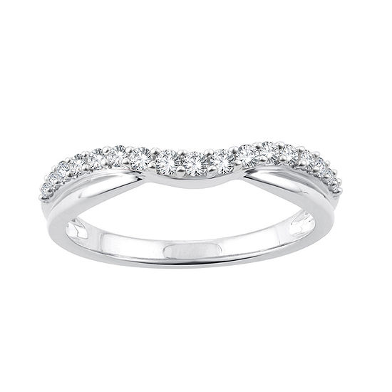 1/4 CT. T.W. Genuine White Diamond 10K White Gold Wedding Band