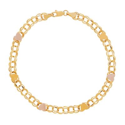 10K Gold 14K Gold 7.5 Inch Hollow Cable Link Bracelet