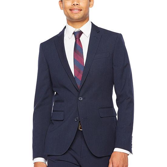Jf Jferrar Navy Fine Stripe Super Slim Fit Stretch Suit Jacket