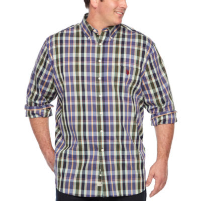 Us Polo Assn. Mens Button Down Collar Neck Long Sleeve Plaid Button-Front Shirt Big and Tall