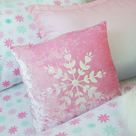Frank And Lulu Sequin Snowflake Square Throw Pillow
