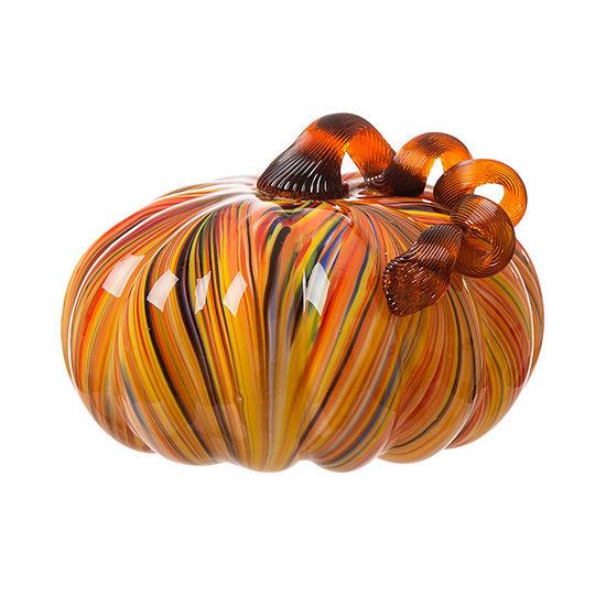 1977 Dry Goods Multi Striped Glass Large Pumpkin Tabletop Decor