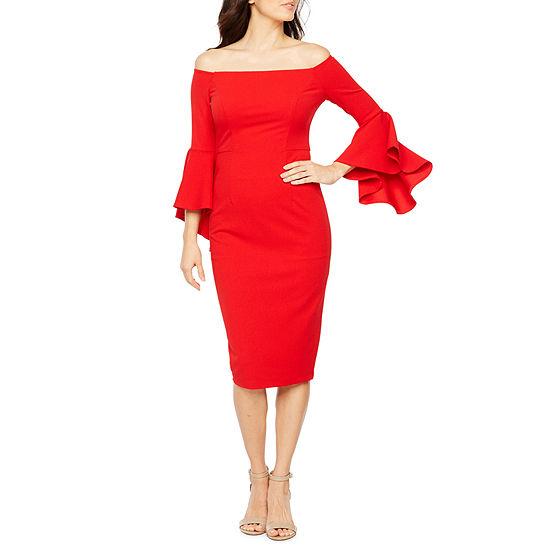 Premier Amour Long Bell Sleeve Off The Shoulder Sheath Dress