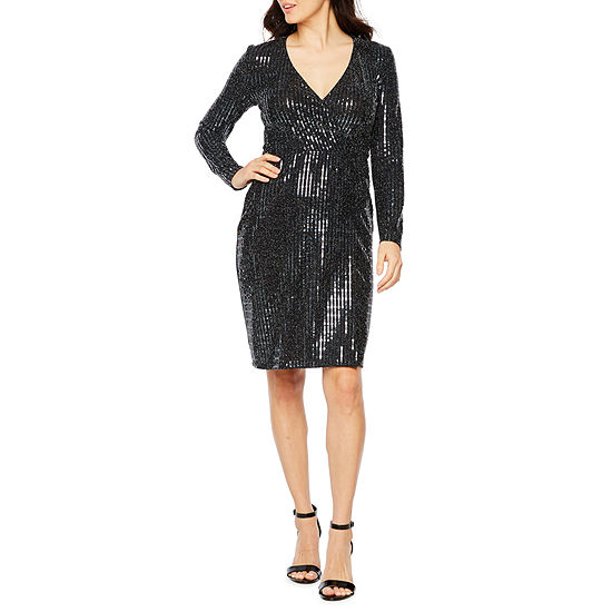 Premier Amour Long Sleeve Sequin Sheath Dress