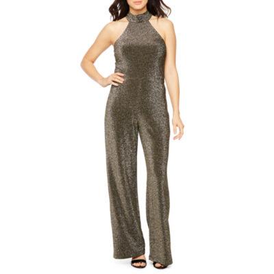 Premier Amour Sleeveless Glitter Knit Jumpsuit